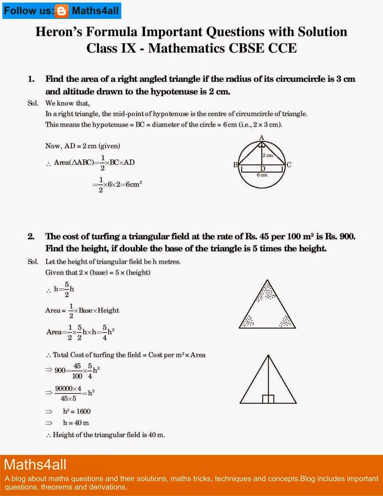 Maths Formulas For Class 7 Cbse