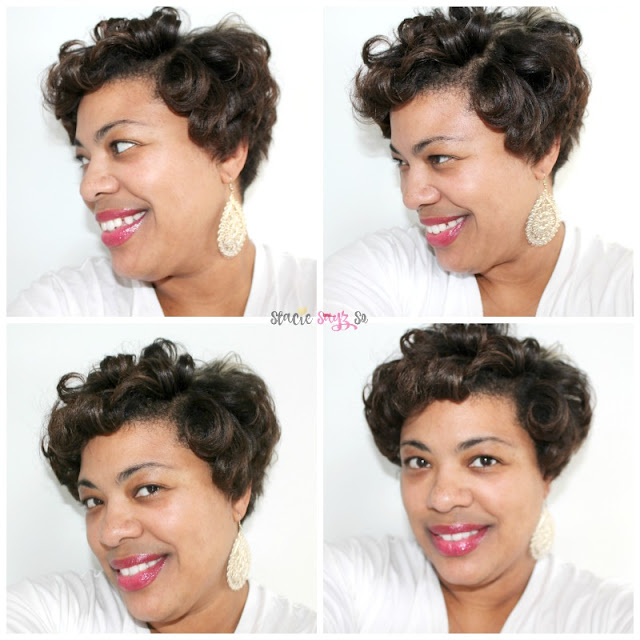 a woman with short hair