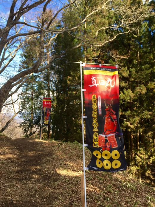 「真田氏上州の拠点 岩櫃城」と六文銭が描かれた真田丸の旗