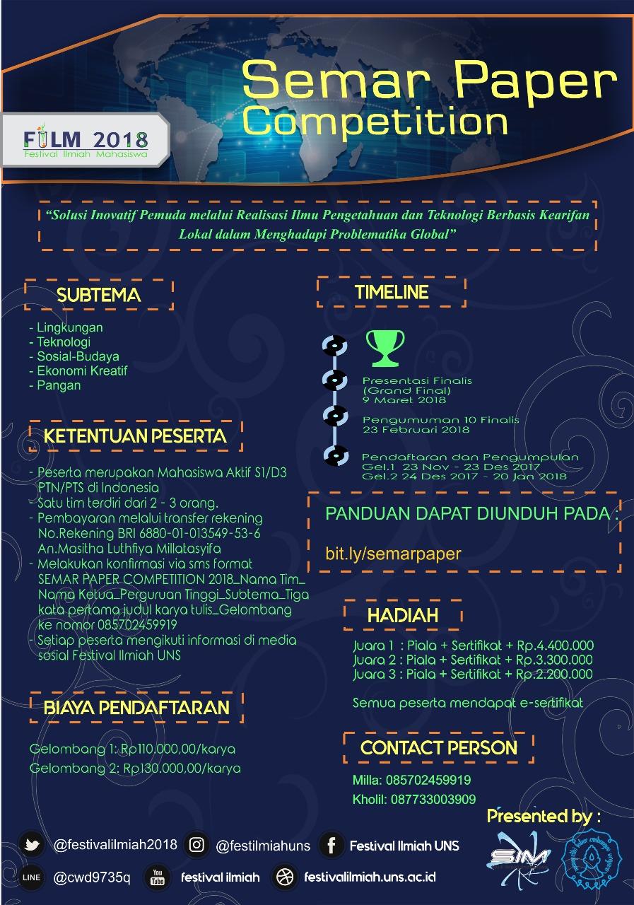 Lomba SEMAR Paper Competition 2018 Untuk Mahasiswa