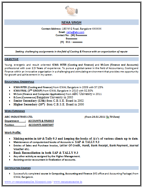 over 10000 cv and resume samples with free download  icwa