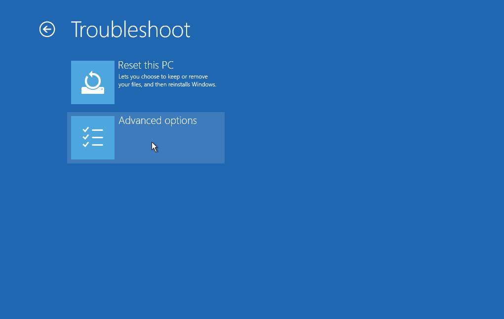 Cách sửa lỗi bị mất tùy chọn Reset this PC và các tùy chọn khác trong màn hình Advanced options