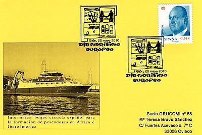 Tarjeta del matasellos del Día Europeo del Mar celebrado en Gijón