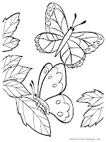 Butterfly Flying Kids Coloring Sheets