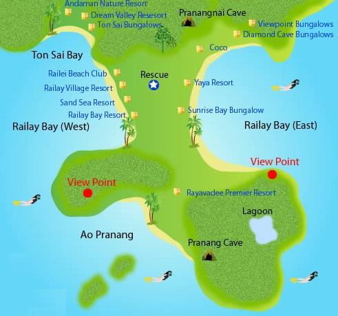 Mapa de la península de Railay con sus playas y zonas