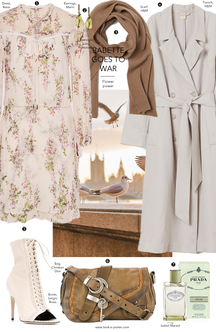 Styling a floral dress with trench coat, Prada, Dior, H&M, Sergio Rossi & Marni for look-a-porter.com fashion blog.