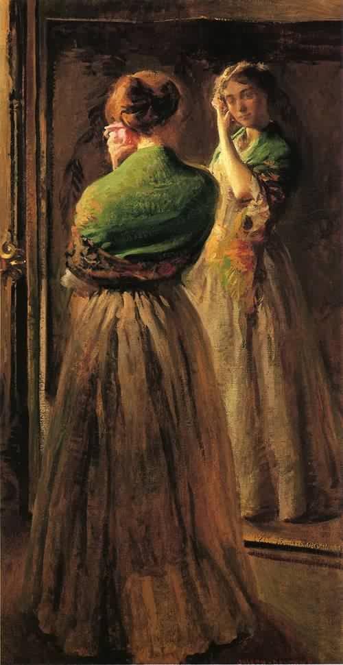 Джозеф Родефер Де Камп Joseph Rodefer DeCamp Девушка с зеленым платком