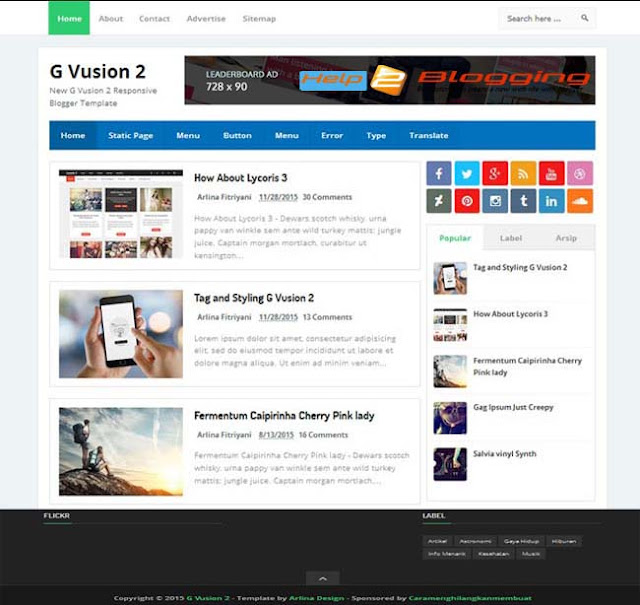 G Vusion 2 Blogger Template Free Download