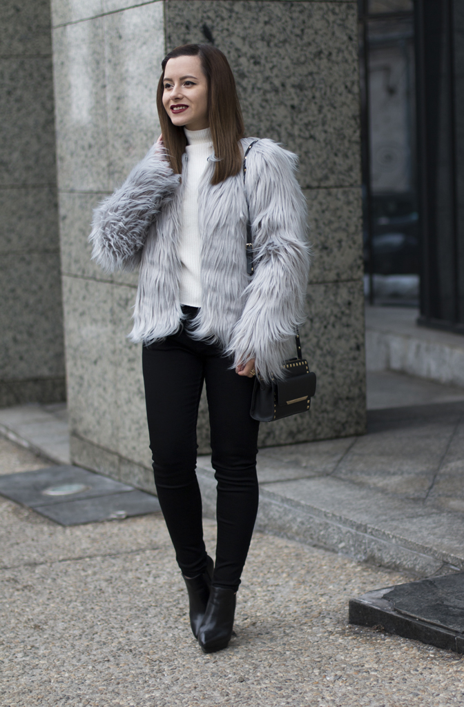 how to wear the grey faux fur coat