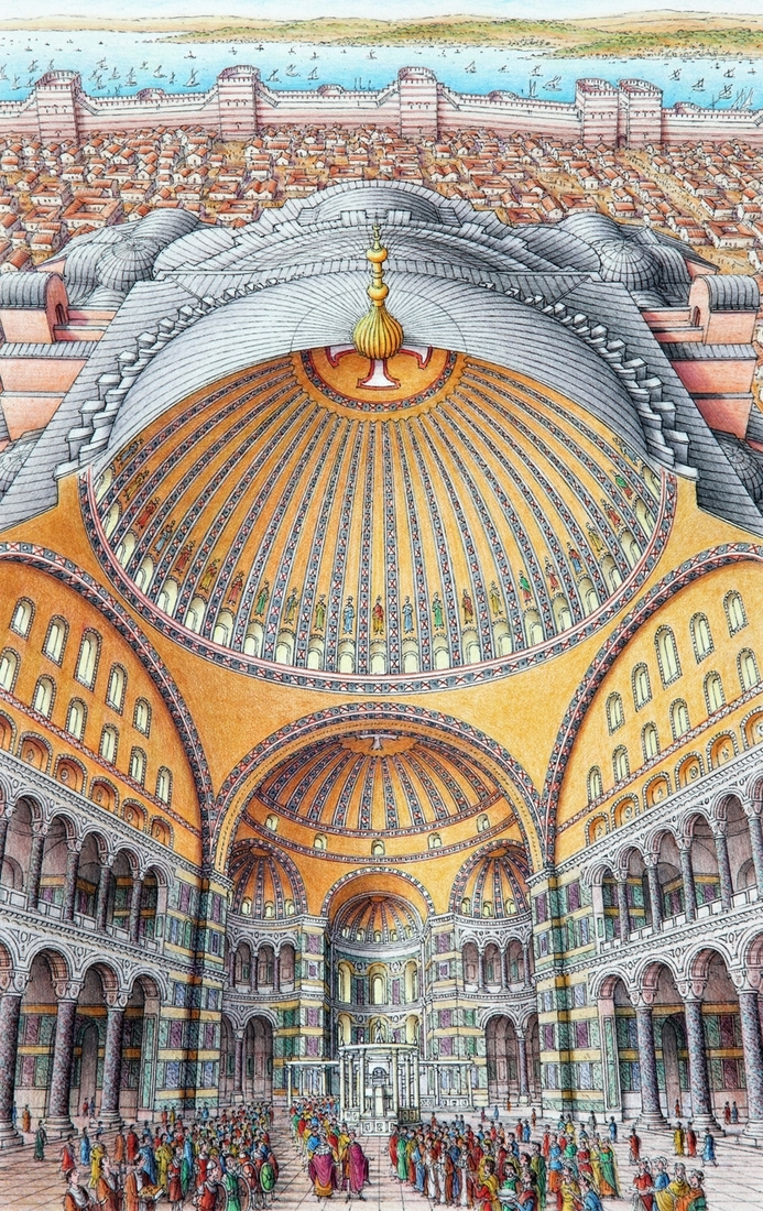 08-Hagia-Sophia-Istanbul-Stephen-Biesty-Historical-Architectural-Buildings-Inside-out-Drawings-www-designstack-co