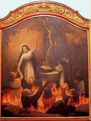 En la imagen una pintura de la Virgen intercediendo a su Hijo por las almas del purgatorio