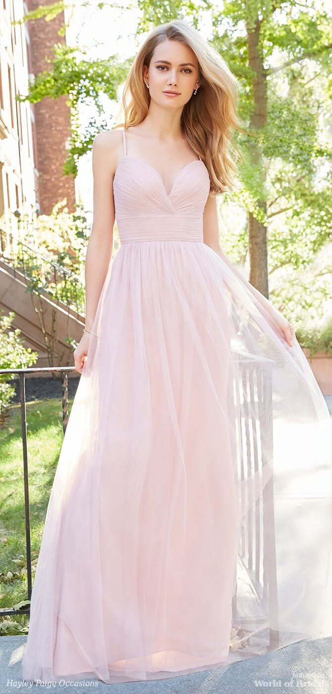 Hayley Paige Occasions Spring 2018 Dusty Rose English net A-line bridesmaid gown