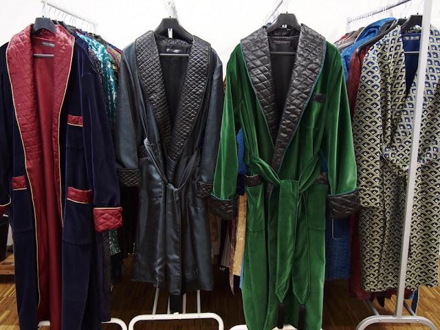 Mens velvet dressing gown smoking jacket quilted silk robe