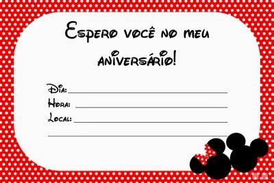 Convite de aniversário Minnie
