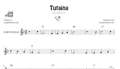 Tutaina Villancico Partitura de Flauta, Violín, Saxofón Alto, Trompeta, Viola, Oboe, Clarinete, Saxo Tenor, Soprano Sax, Trombón, Chelo, Fagot, Trompa, Corno, Contrabajo, Tuba...Tablaturas de Guitarra, Ukelele y Banjo Tabs