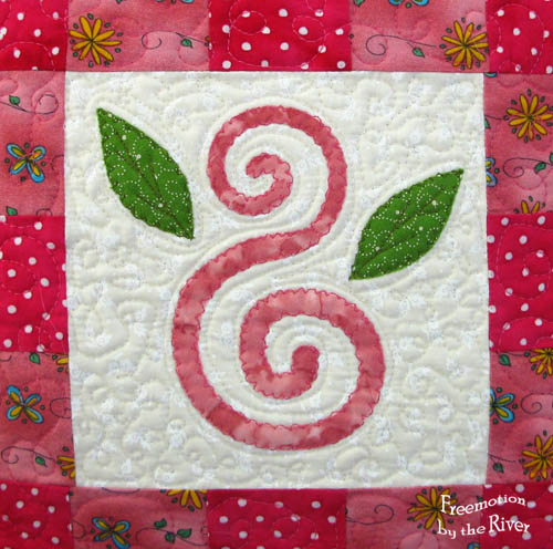 closeup of free motion applique
