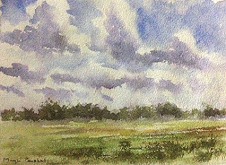water colour painting of a landscape from coorg by Manju Panchal
