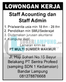 Lowongan Lampung Sebagai Staff Admin dan Accounting di PT. Multi Sumber Makmur Agustus 2016