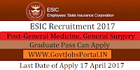 Employees' State Insurance Recruitment 2017-General Medicine, General Surgery