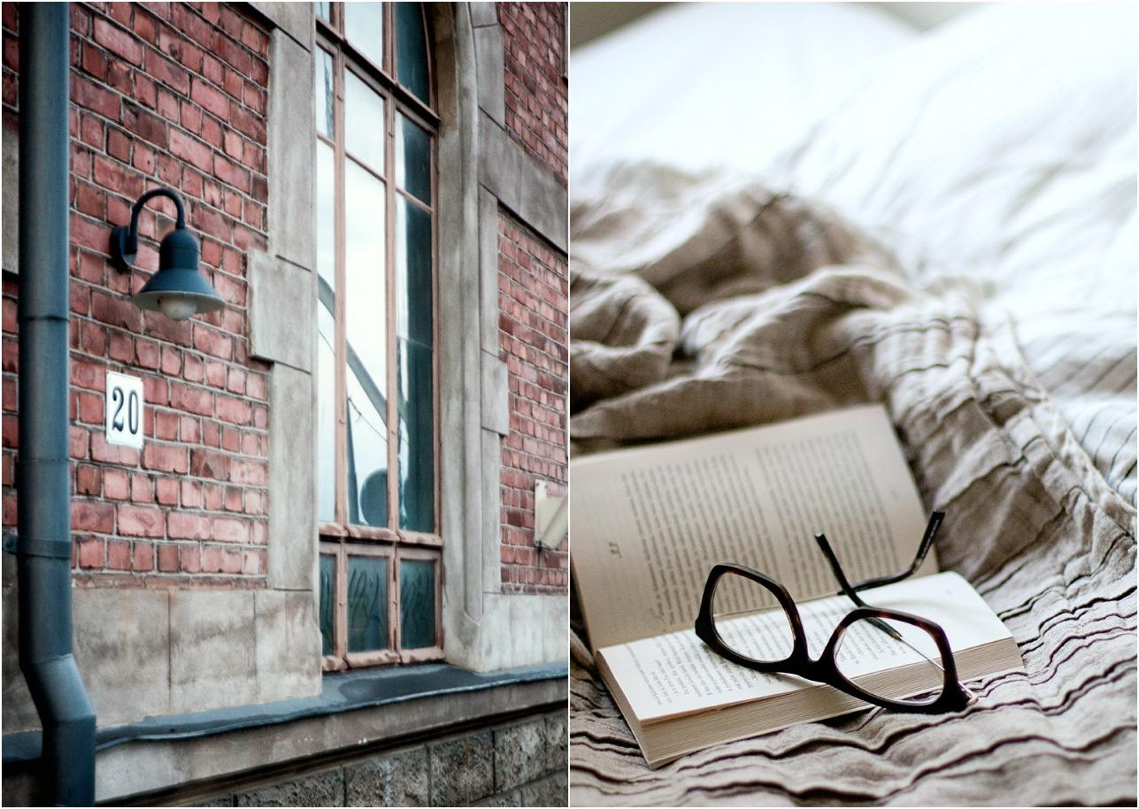 Pori, Charlotta, silta, aamu, matkailu, matkustus, kotimaa, joki, vanha tehdas, punatiilirakennus, kirja, sänky, makuuhuone, lukeminen