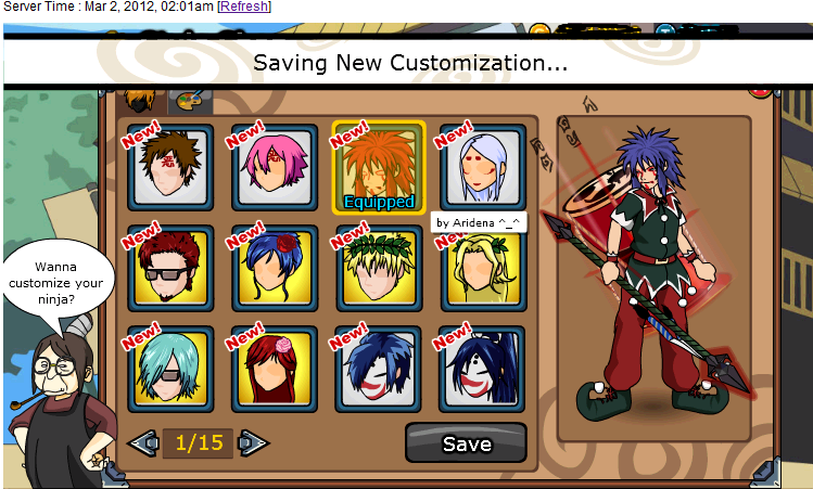Cheat One Hit Ninja Saga April Cheat Ninja Saga NS All hair Style All In Shop Terbaru April 2012 749x451