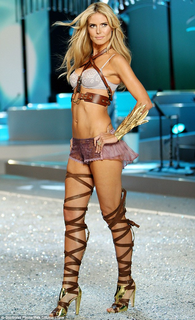 813e7d9b5c684 ... lingerie collection Heidi Klum Intimates. Her hair tousled into that  just-woken-up look, the leggy blonde, who once said she is on a permanent  diet, ...