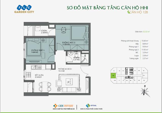 Thiết kế căn hộ 12B, 52m, HH1 FLC Garden City