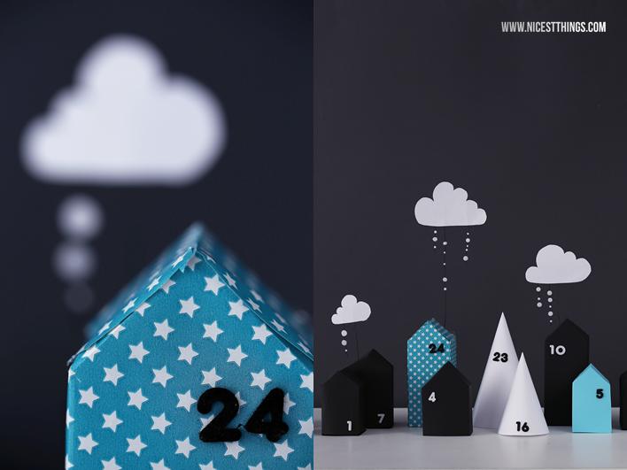 DIY Adventskalender Dorf Adventskalender Häuser aus Papier Häuschen