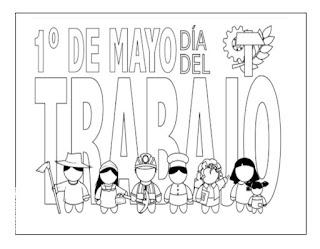 1 de mayo colorear dia del trabajo