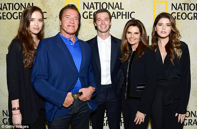 Arnold Schwarzenegger posed with his ex Maria Shriver, 61, and their children Katherine, 27, Christina, 26, and Patrick, 24 in Los Angeles