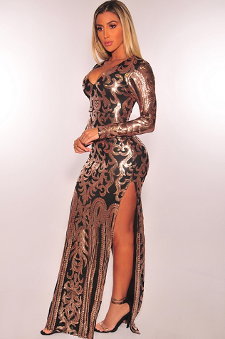 Black Rose Gold Victorian Sequins Slit Gown Maxi Dresses Curvyfashionchicks Over Blog Com