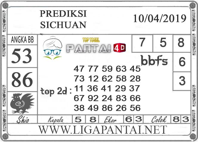 """Prediksi Togel """"SICHUAN"""" PANTAI4D 10 APRIL 2019"""