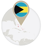 Bahamian flag and map