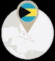 Bahamian flag and map