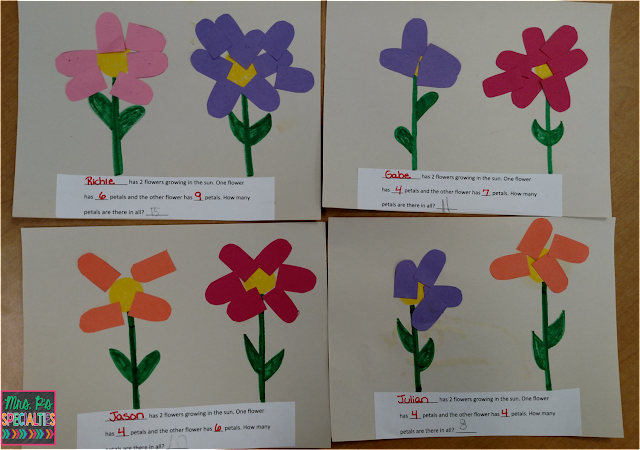 photo of completed math craft with flowers