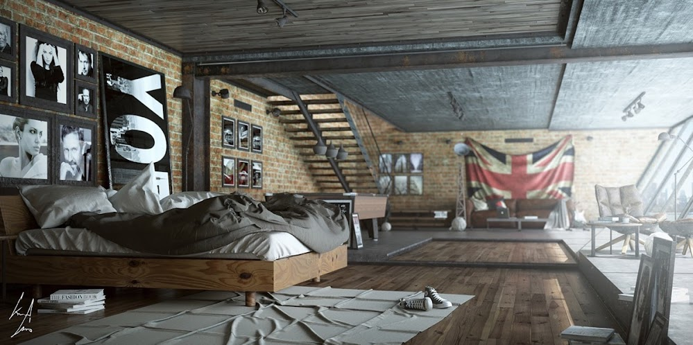 funky-modern-industrial-bedroom