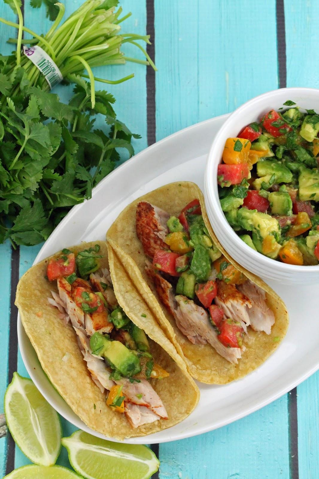 Grilled fish tacos avocado salsa for Fish taco salsa