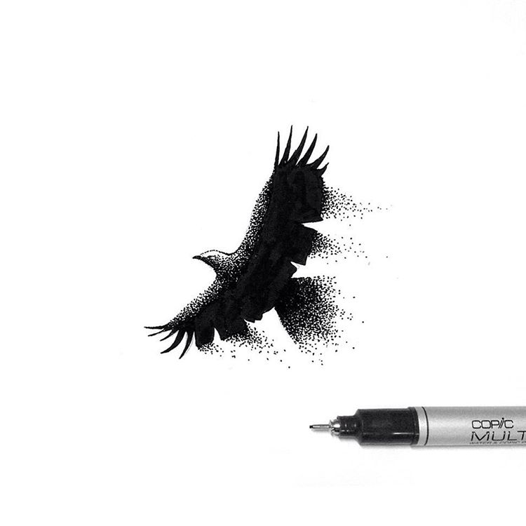 19-Majestic-Raven-Thiago-Bianchini-Eclectic-Collection-of-Drawings-and-Illustrations-www-designstack-co