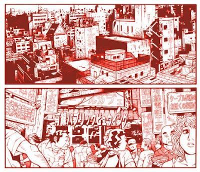実在しない街の雑踏を描いたマンガの一部