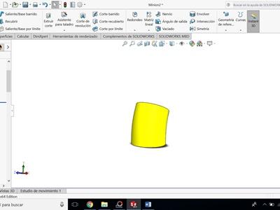 operacion extrusion para hacer cuerpo del minion con solidworks