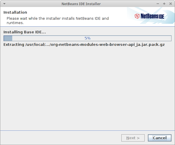 Currently installing Netbeans