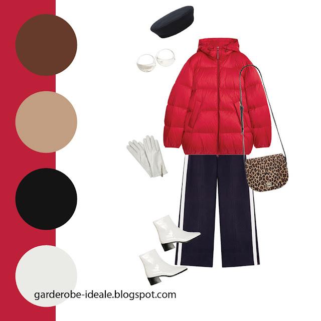 Сочетание красного пуховика и леопардовой сумки