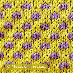 Simple slip stitch pattern: Check stitch - A Great stitch to get started with mosaic knitting!