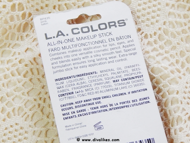 L.A.Colors All-In-One Makeup Stick Pink Satin Ingredients