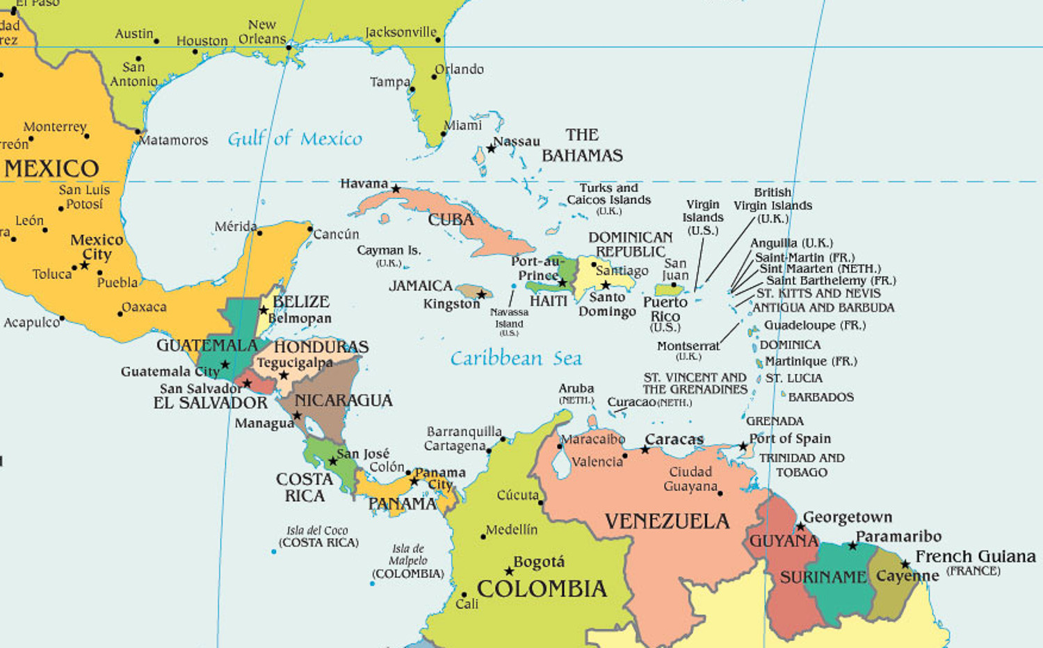 map of the caribbean and central america barbados is located north of guyana and puerto rico is located north of venezuela the amazon river is located at