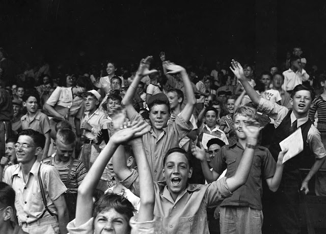 Kids at a ball game at Briggs Stadium, Detroit, August, 1942.