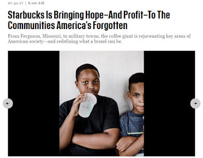 "Screenshot of top of article with title: ""Starbucks is bringing hope - and profit - to the communities America has forgotten"" and image of two youth, one drinking a Starbucks beverage."