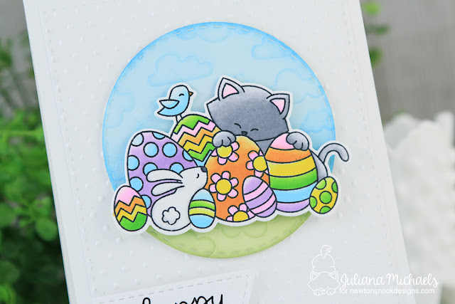 Happy Easter Embossed Background by Juliana Michaels featuring Newton's Nook Designs Newton's Easter Basket Stamp Set and Cloud Sky Stencil