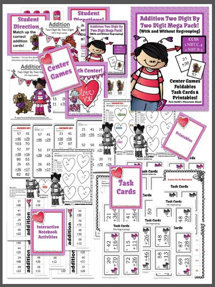 Valentines Day Two Digit By Two Digit Addition Mega Math Pack