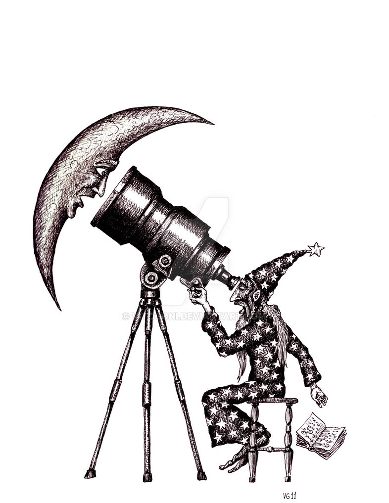 01-Astronomer-Vitaliy-Gonikman-Surreal-Black-and-White-Drawings-with-a-Message-www-designstack-co